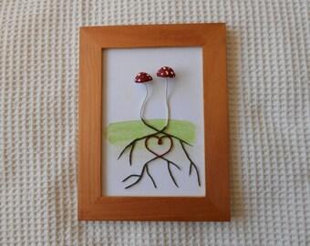 Lovers  Mushroom Heart Roots Framed Wall Hanging Art  Mushrooms