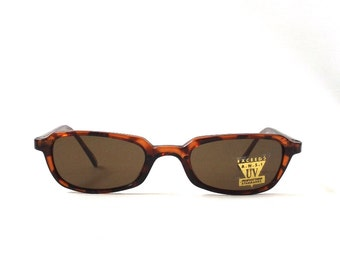 vintage 1990's NOS square tortoise shell plastic sunglasses dark brown lenses mens womens fashion accessories sun glasses retro modern new