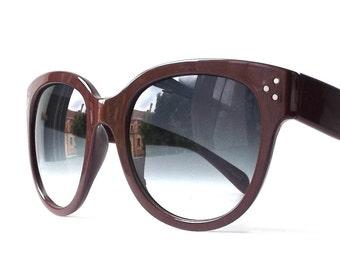 vintage 1990's NOS oversized round plastic frames sunglasses chocolate brown mens women fashion accessories sun glasses retro grey gray lens