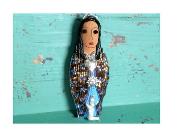 Personal Saint Beaded Art Doll with Milagros and Message in Locket - Personal Gift - Healing Gift - Inspirational Gift - Mexican Folk Art