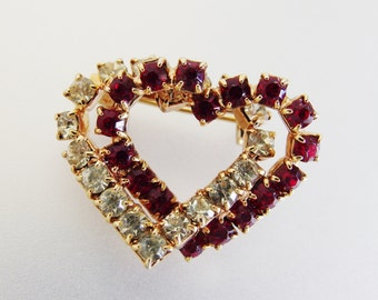 Pretty Vintage Red and Clear Rhinestone Heart Brooch