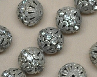 15 mm Vintage Silver Toned Rhinestone Filigree Beads 10 or 20 Pieces