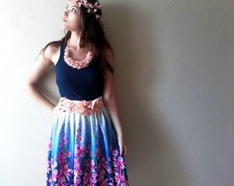 Peach Flower belt, blush pink sash belt, light pink bridal belt. three flower sash, garden wedding