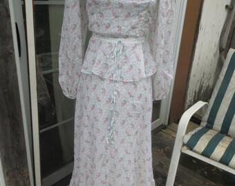 Vintage 1970's Trolley Car Dress / 70's Boho Sundress  / Golden Gate Girl White floral   Festival Maxi prairie  Dress