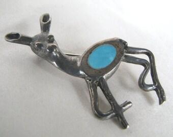 Vintage Sterling Silver Deer Pin Brooch Artisan made