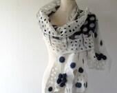 Nuno Felted scarf Silk felt scarf  Polka dot stole  White Blue  shawl, Silk Wool shawl  felted shawl by Galafilc