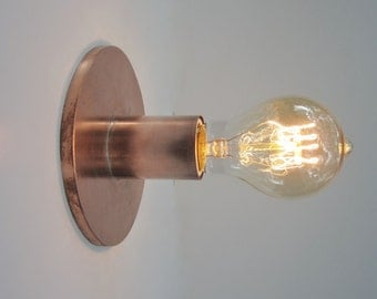 Wall Sconce Industrial Lighting - Copper Exposed Edison Bulb Fixture - The Lume - Minimalist Bare Bulb - Indoor or Outdoor