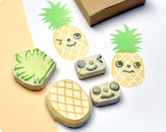 Pineapple hand carved rubber stamps set of 4