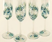 Hand Painted 50th Anniversary Champagne Glasses - Gold and Teal Roses, Set of 4 - Personalized 50th 25th Wedding Anniversary Flutes