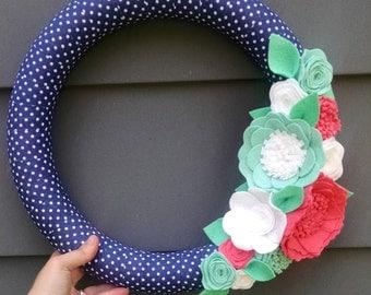 Bright spring wreath, wildflower wreath, fabric wrapped wreath, wool felt flower wreath, summer wreath, summer decor, polka dot, navy wreath