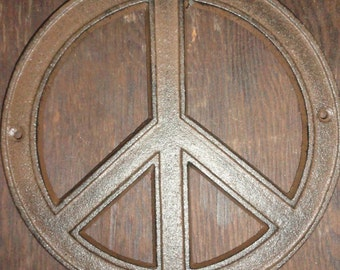 Hippy 60's Cast Iron Rustic style Peace Sign.