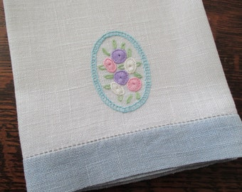 Linen Towel Pastel Embroidery Blue Hem Stitched Ends