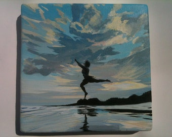 Dancer leaping in the sea, original painting on canvas, figure in a landscape, silhouette beach sunset