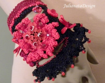 ENCHANTING SIGNATURE CUFF - Fiber Art Jewelry, Exquisitely Beaded, Hand Embroidered, Freeform Crocheted
