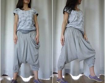 Funky Harem Boho Drop Crotch Light Heather Grey Cotton Jersey Pants With Front Pocket And Elastic Waist