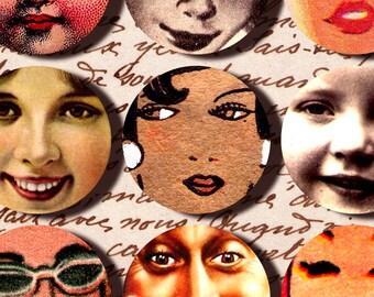 vintage Faces illustrations 2.5 inch Circles digital collage sheet Instant Download printable pocket mirror n052