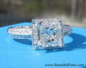 GIGANTIC Colorless Certified Princess Cut Diamond Halo Engagement Ring F/Si1 - 14k white gold - Bph023