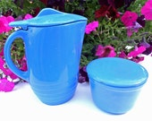 Vintage Blue Pitcher and Blue Covered Dish
