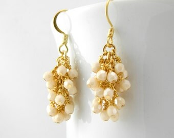Gold Champagne Earrings with Surgical Steel Ear Wires