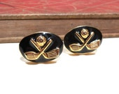 SALE Vintage Gold Black Enamel Golf Cuff Links - Gold Plated Golfing Golf Clubs Golf Ball Vintage Wedding Cufflinks Soldered CLEARANCE
