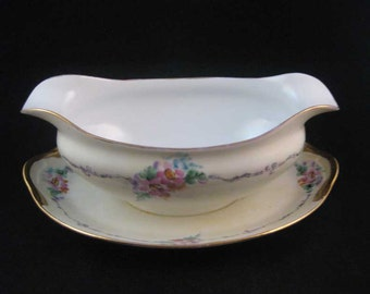 Noritake Nippon Gravy Boat W/Attached Underplate Circa 1911 Pink Flowers Gold