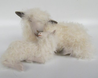 Cotswold Ewe and Lamb Sleeping