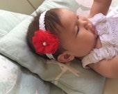 "Newborn to 3 months red flower white band baby 11"" headband"