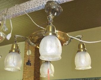 Antique 4 globe light fixture, cut glass as well as irrodecent shades