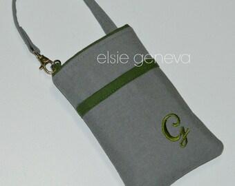 Solid Grey and John Deer Green Japanese Linen Phone Case Shoulder Strap Back Zipper Pocket  iPhone 4 5 6 Plus Note