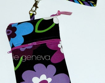 Black & Purple Phone Case w Wristlet  iPhone 5 6 Plus 6S Note Leather Pull Tab Wristlet Samsung Android Magenta Blue Floral Ready to Ship