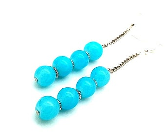 Earrings,Teal Aqua Beaded Chain Dangles, Perfect Gifts for Minimalist that Love Color, Simple Trendy Mod Earrings  Young Women Teens Sisters