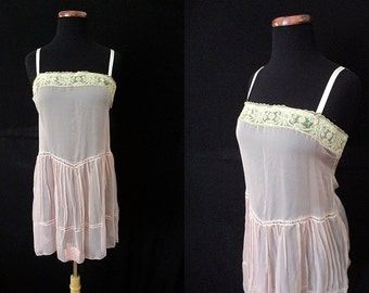 Exquisite 1920's Silk Chiffon and Lace Camisole with Silk Ribbon Shoulder Straps Old Hollywood Glamour Roaring 20's Great Gastby Size-Medium