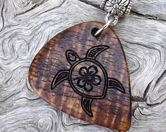 Handmade Premium Wood Guitar Pick-Pendant - Hawaiian Koa - Actual Pendant Shown - No Stock Photos