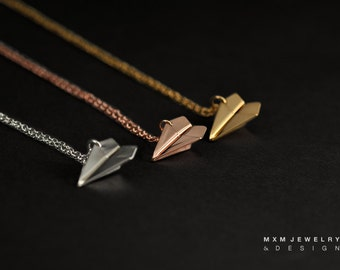 Medium / The Original Handfolded Paper Airplane Necklace / Gold