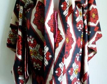 40s Japanese Haori silk jacket with diamond pattern in Ikat style