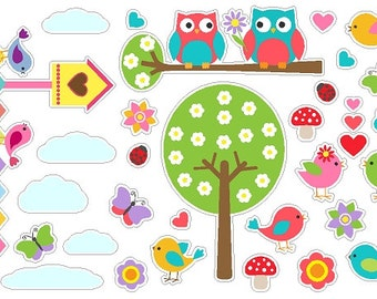Bird and Owl Themed Stickers Removable/Repositionable Nature Nursery Wall Decals