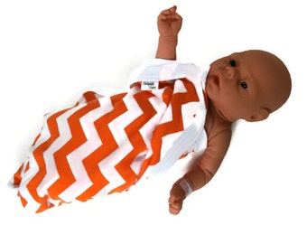 Orange Chevron Swaddling Baby Blanket. Orange & White Chevron Stretchy Infant Swaddler Blanket.   Stretch Knit Baby Receiving Blanket.
