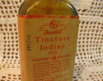 "1940s Vintage Amber Glass Medicine Bottle ""Tincture of Iodine"" w/ Label"