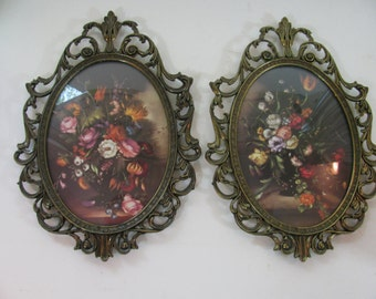Pair of Antiqued Brass Frames - Filigree -  Domed Glass - Oval - with Floral Prints