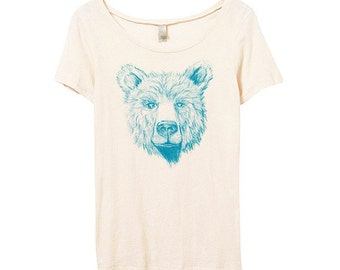 Womens Teddy Bear Tshirt, Ladies Bear Shirt, Mother Bear, Bamboo, Eco Friendly Organic Cotton, Small, Medium, Large, XL
