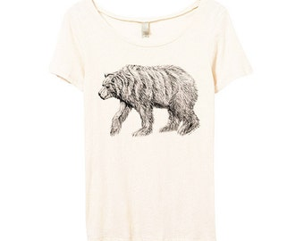 Womens Bear Shirt - Womens Bear Tshirt - Bamboo - Bear Drawing Shirt - Womens Scoop Neck - Small, Medium, Large, XL
