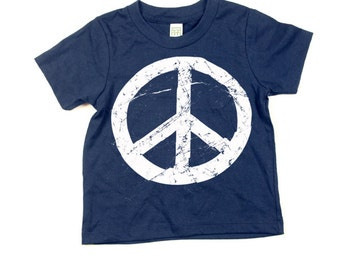 Kids Peace Sign Tshirt  - Eco-Friendly - Organic - Navy Blue -Toddler - Small, Medium, Large - Boy - Girl