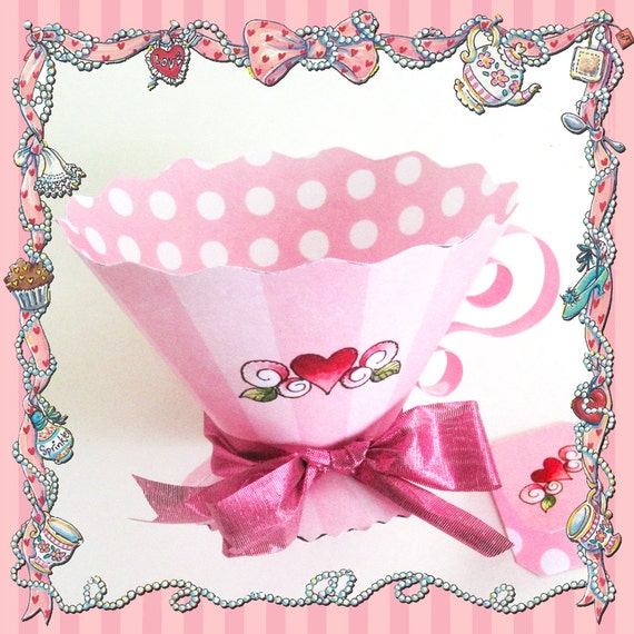 Fancy nancy teacup party favors diy pattern template tea for Teacup party favors