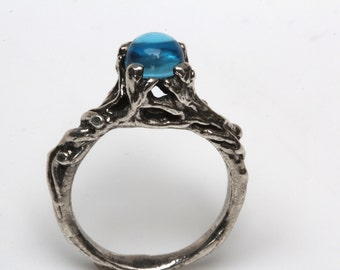 Swiss blue topaz tree branch ring Sterling Slver or 14k Gold  NYC Blue Bayer Design