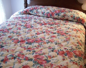 SALE REDUCED....Floral Chic Quilted Bedspread, Pinks, Blues, Teal, King, Cal King, Shabby Cottage