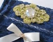NAVY Blue Lace Wedding Garter Set, Something Blue Garter, Gold & Midnight Blue Bridal Garters, Navy Blue Prom Garter, Rustic- Country Bride