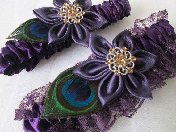Plum Purple Wedding Garter Set Peacock Garter By GibsonGirlGarters