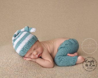 Newborn Knit Knot Hat and Pants, Newborn Photo Prop, Diaper Cover, Baby Boy, Baby Girl, Newborn Knit - SIZE NEWBORN - more color options