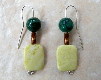 Emerald Green Malachite, Light Yellow and Curled Copper Earrings on Hand-fashioned Sterling Sliver Wires