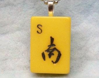 Mahjong Tile Pendant Necklace ~ S ~  South Wind ~ Original 1940's Bakelite Mahjong Tile 24 Inch Ball Chain Necklace